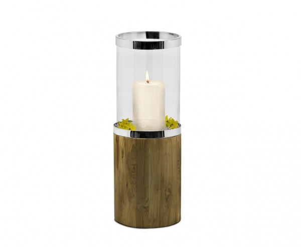 Windlicht Lowell, Teakholz, Glas, Edelstahl glänzend vernickelt, Höhe 68 cm