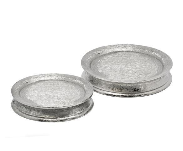 SALE Teller Kerzenteller Dekoteller Holger, Aluminum gebürstet, vernickelt, Durchmesser 22 cm