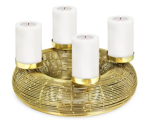 Adventskranz Nils, Edelstahl vernickelt, Gold-Optik, Durchmesser 32 cm, für Stumpenkerzen ø 6 cm