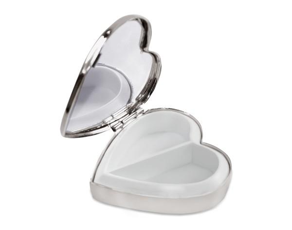 Pillendose Herz mit Spiegel, 2 Fächer, edel versilbert,anlaufgeschützt, 5 x 5 cm