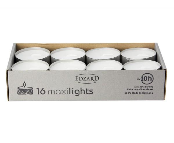 16 Stück WENZEL Maxilights Maxi-Teelichter, weiß, Aluminiumhülle, Durchmesser 58 mm, ohne Duft